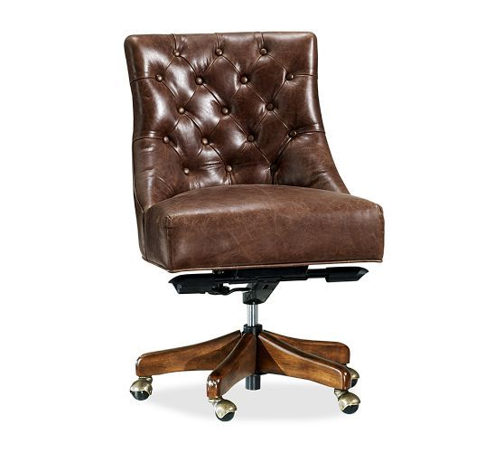Hayes Tufted Leather Swivel Desk Chair With Images Swivel Chair Desk Leather Dining Room Chairs Home Office Chairs