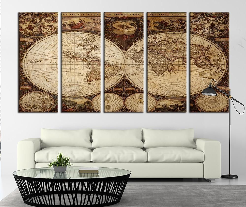 Photo of Browny Ancient World Map Canvas Art Print Historical World Map Art Print No:108 – Each Panel: 10×24