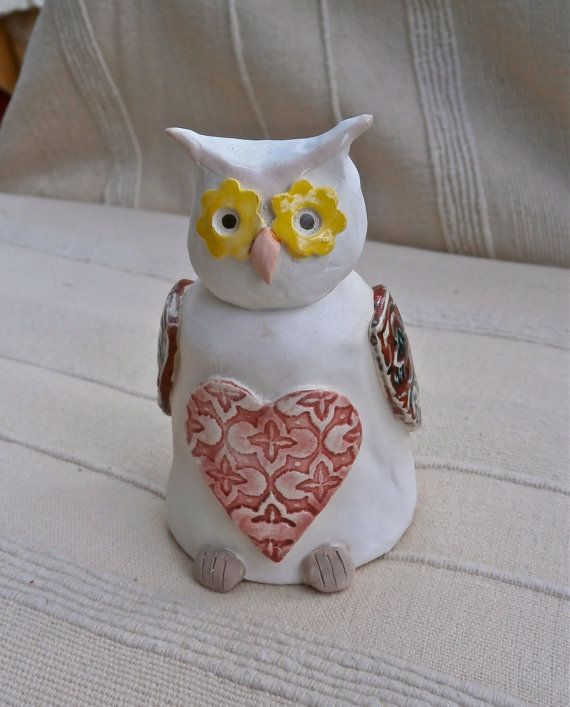 Ceramic Owl figurine white and red by BlueButterflyCrafts on Etsy