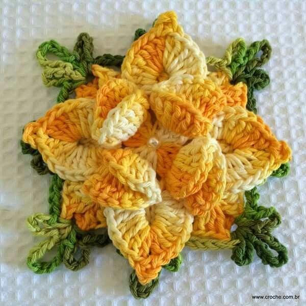 Pin de Cida en flores | Pinterest | Flores tejidas, Flores y Ganchillo