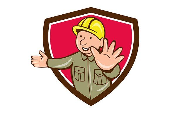 builder hand stop signal crest graphics illustration of a builder