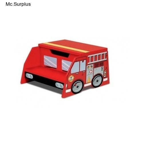 Bon Fire Truck Step Stool Kids Bathroom Boys Room Red Bench Storage Unit Toybox  Bin #FireTruckModern