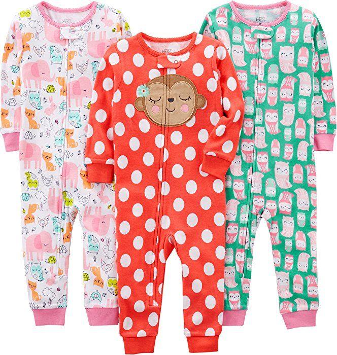 aa20b96379 Amazon.com  Simple Joys by Carter s Baby Girls  Toddler 3-Pack Snug Fit Footless  Cotton Pajamas