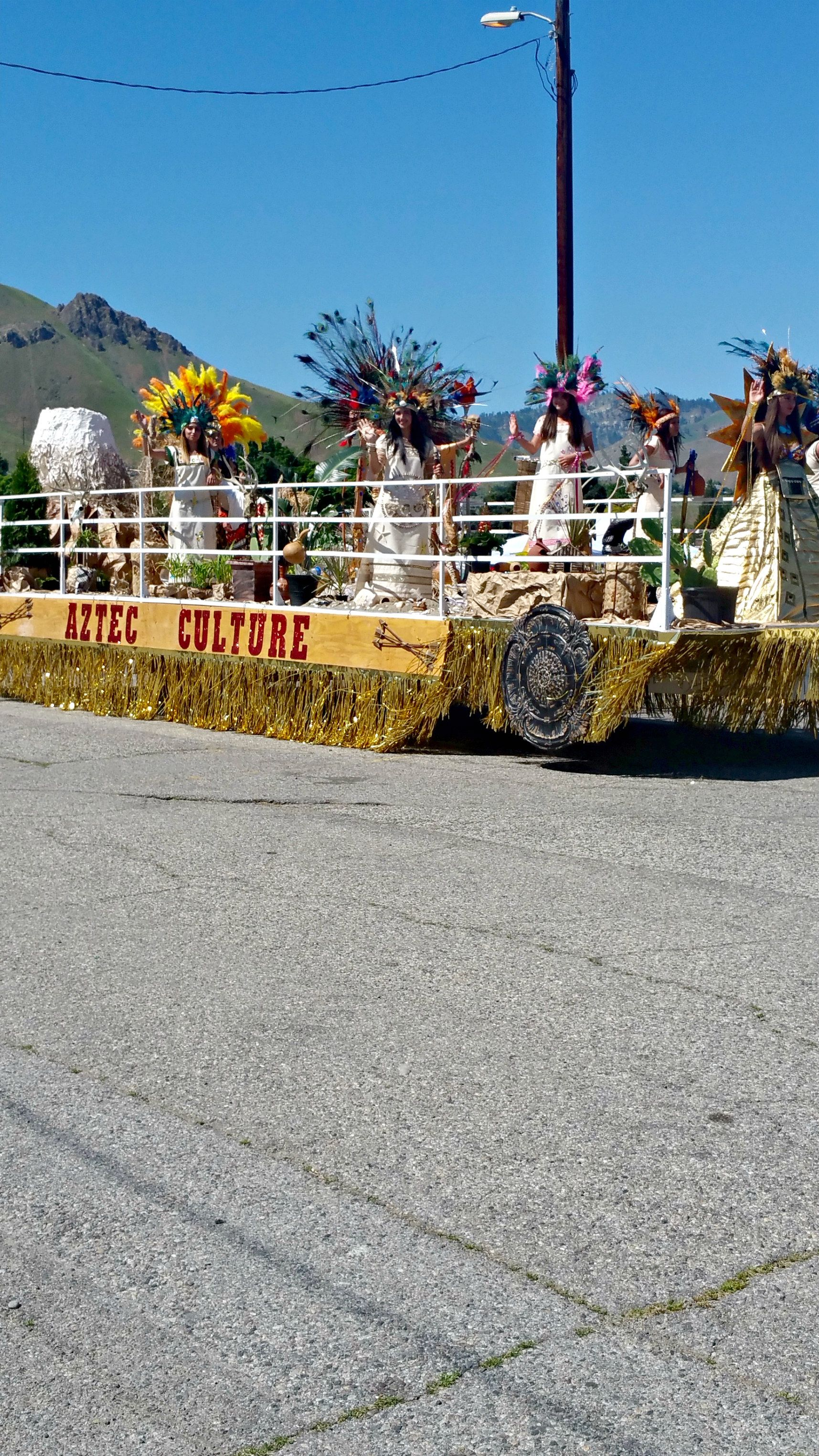 The Aztec float in the Apple Blossom Parade 2016