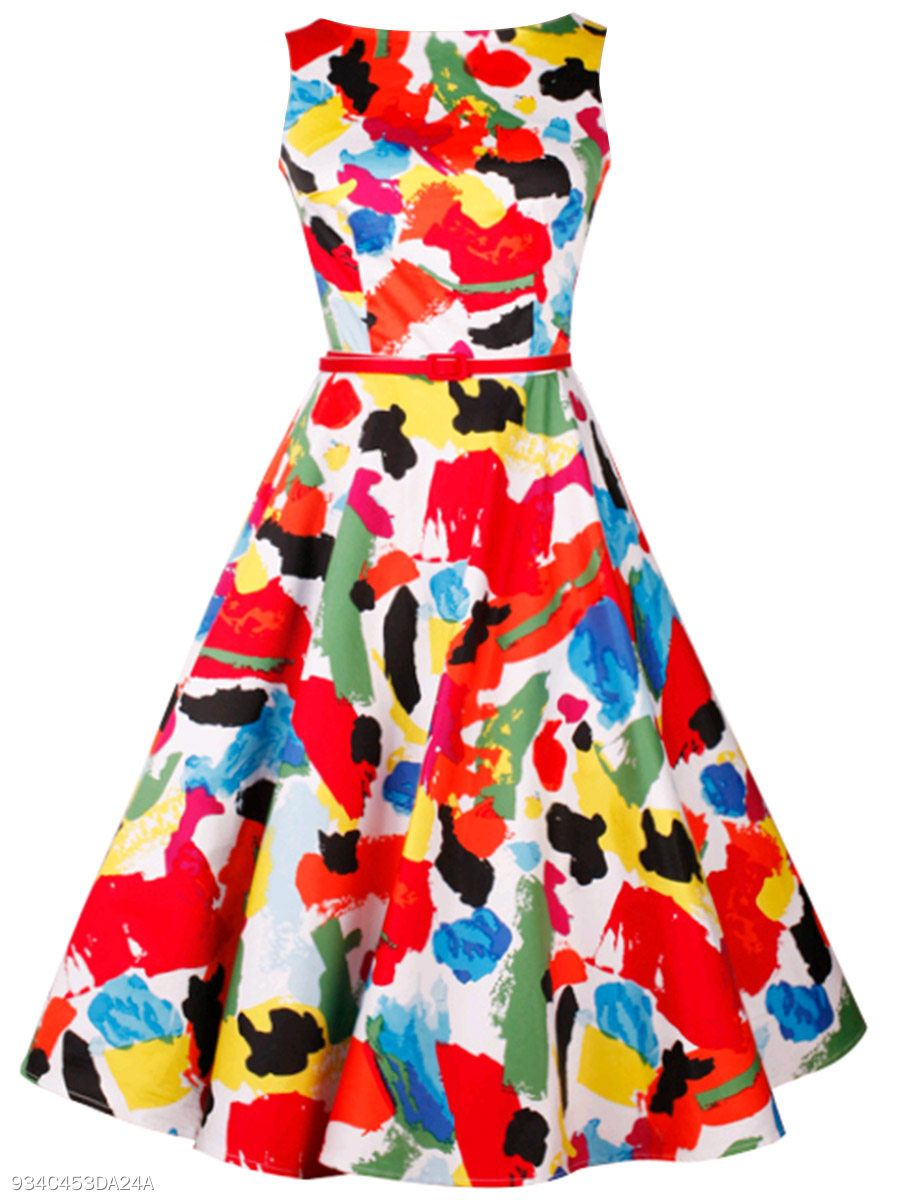 Multi Color Abstract Print Round Neck Belt Skater Dress Berrylook