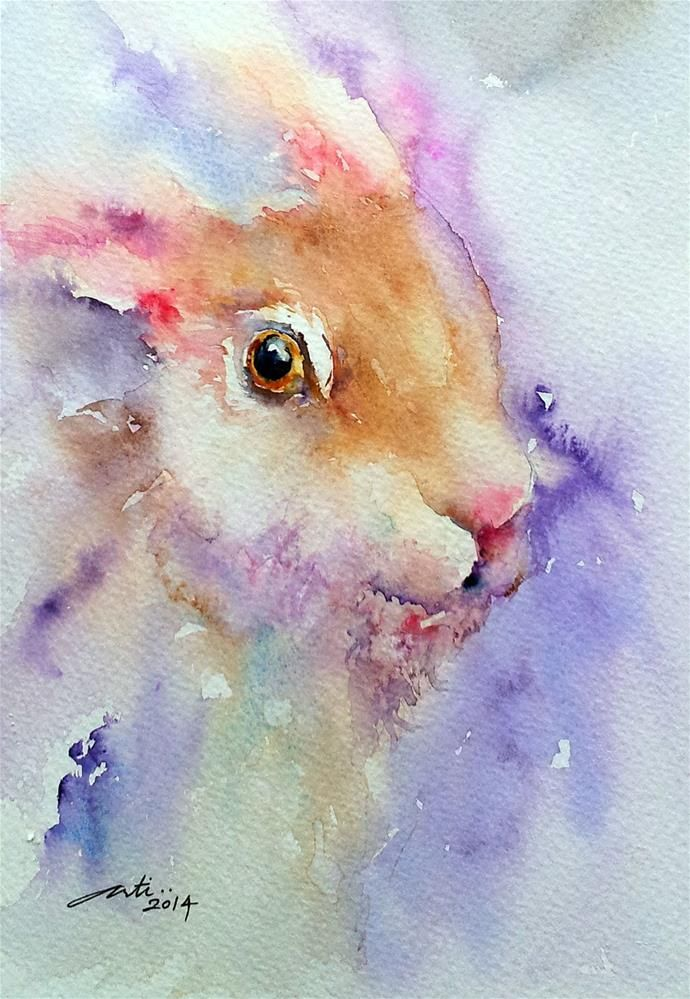 Purple Glow Hare Portrait Original Fine Art By Arti Chauhan