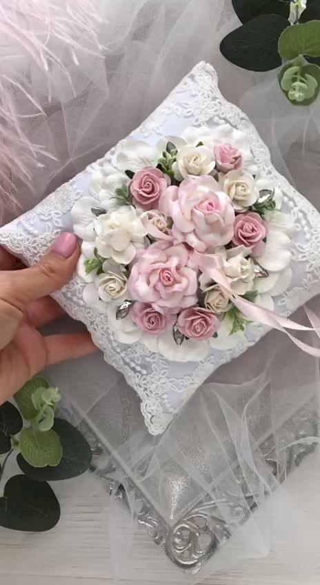 Photo of Ring Bearer Pillow Blush Pink Ring Pillow Lace Pale Pink Ring Bearer Pillow Elegant Wedding Decor