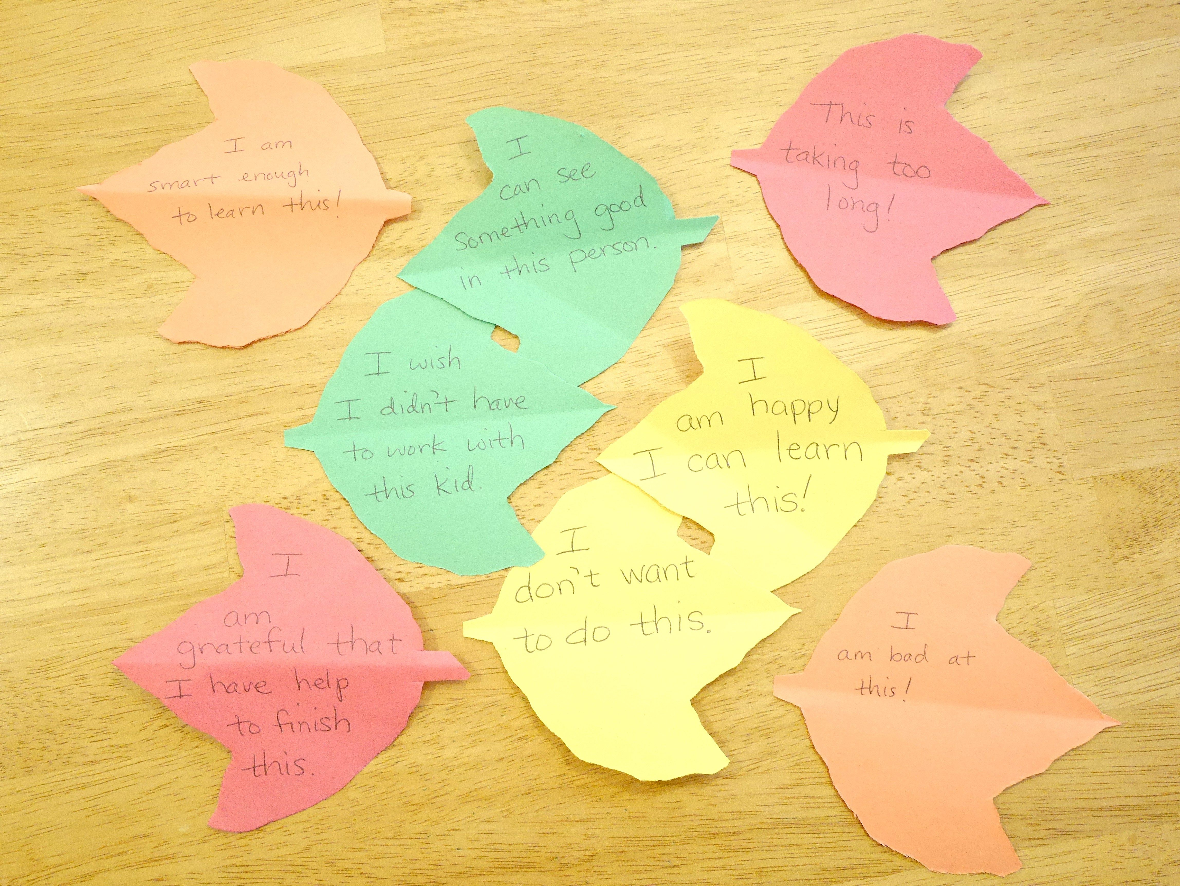 Positive Negative Thanksgiving leaf examples