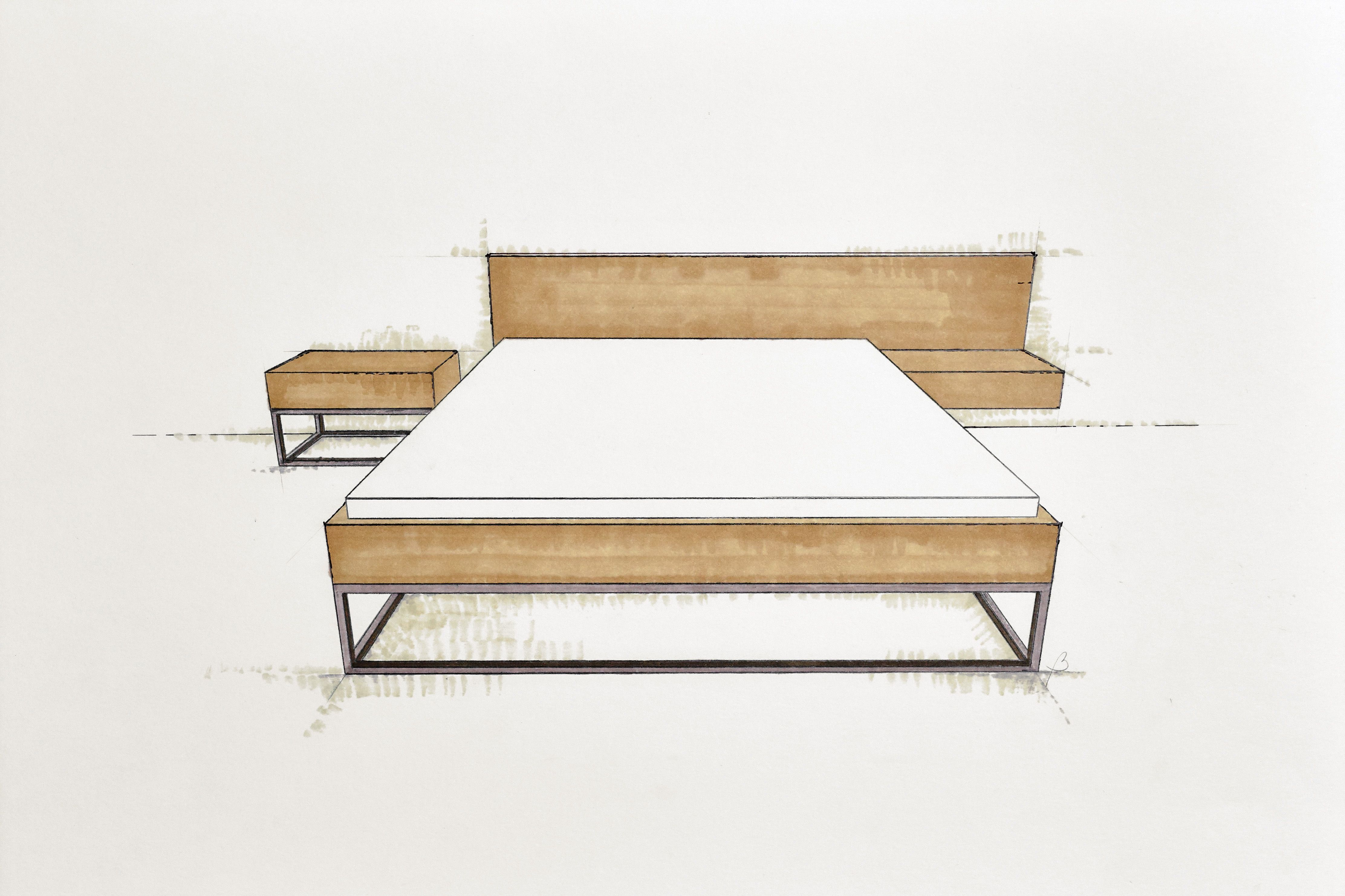 Handcrafted bespoke wooden bed. Modern, simple furniture ...