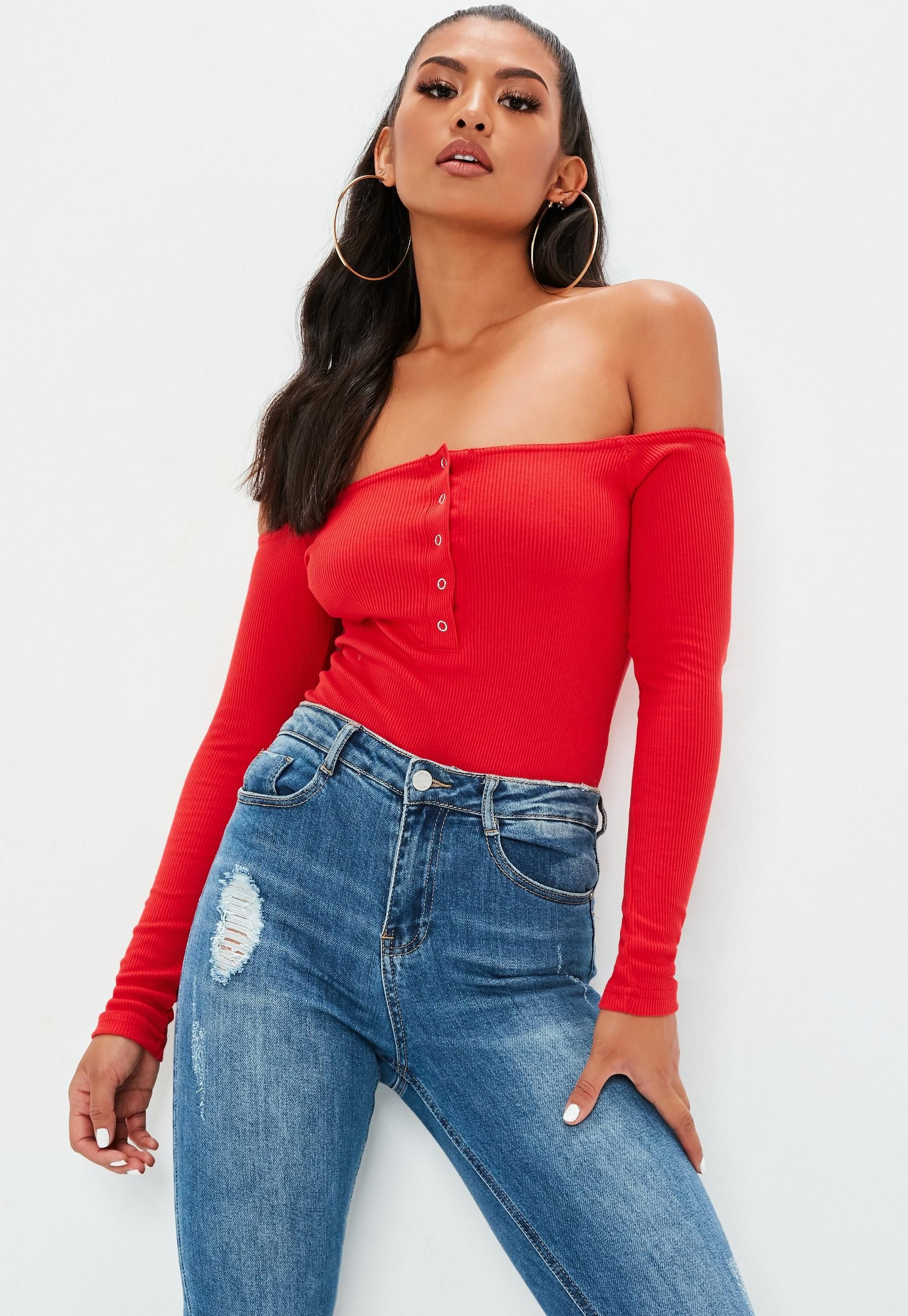 55b6b25305f Red Button Front Long Sleeve Ribbed Bardot Bodysuit in 2019