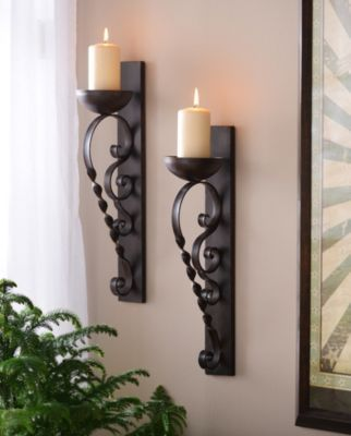 Product Details Brown Twisted Pillar Sconce Set Of 2 In