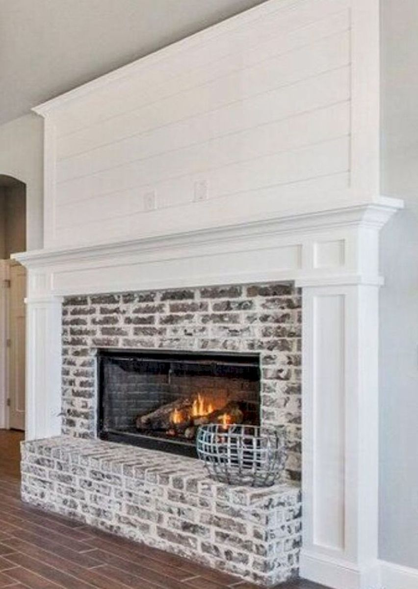 80 incridible rustic farmhouse fireplace ideas makeover (18