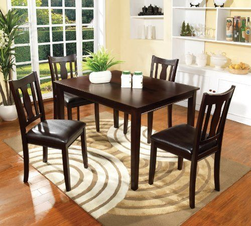 Furniture Of America Marion 5 Piece Solid Wood Dining Set Walnut