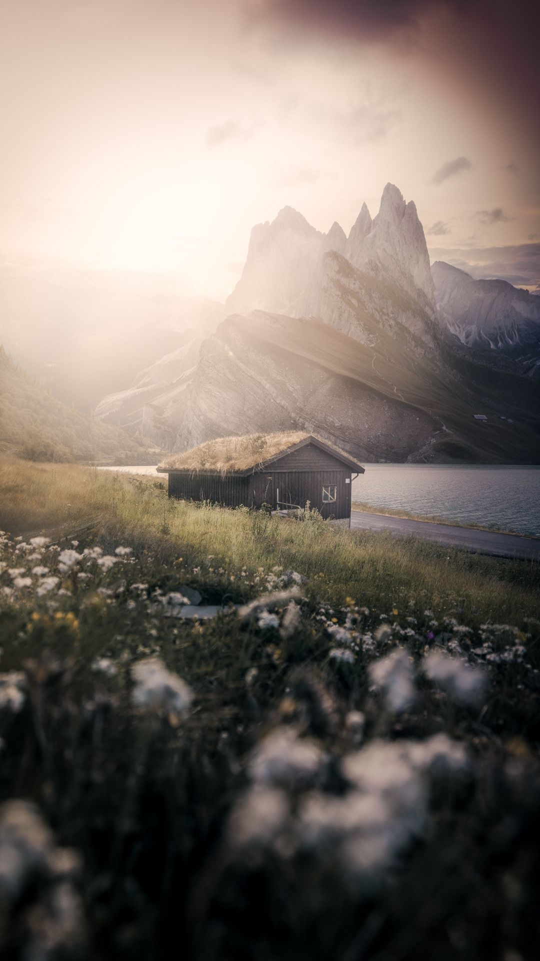 Hut Nature Dolomites Mountains Landscape 1080x1920 Wallpaper