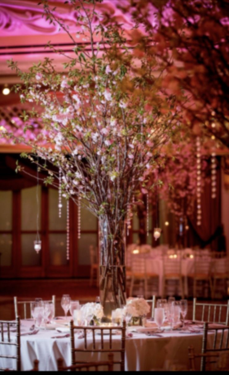 Cherry Blossom Wedding Centerpiece With Hanging Crystals