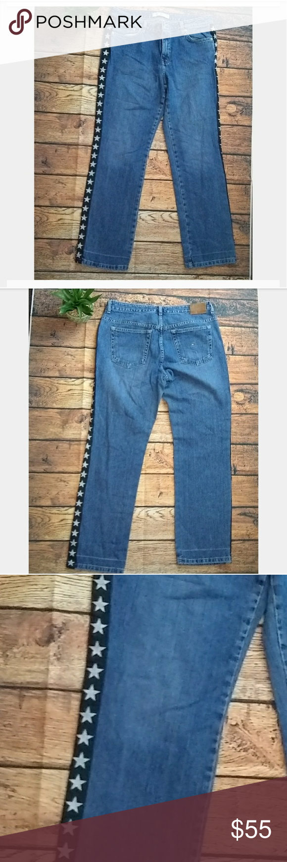 9cd312647 Vintage Tommy Hilfiger jean stars on the side Vintage Tommy Hilfiger jean  stars on the side. Sz 12 aged blue slim fit. Waist 34 inches Rise 10.5  inches ...