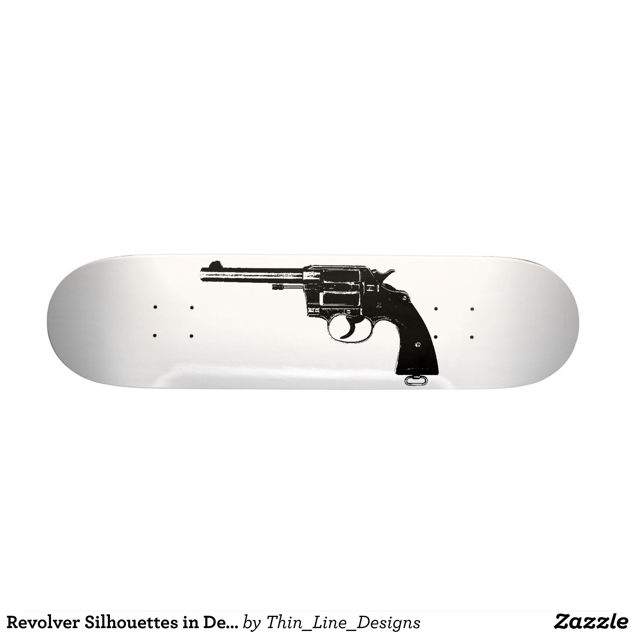 Revolver Silhouettes in Deep Black Skateboard | Zazzle com