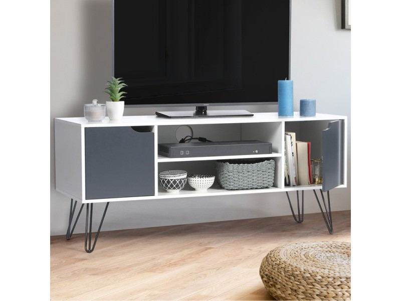 Meuble Tv Vintage Noemi Bois Blanc Pied Epingle Vente De Id Market Conforama Meuble Tv Tv Vintage Deco Meuble Tv
