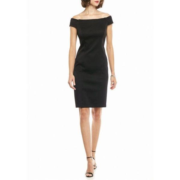 Adrianna Papell Black Off The Shoulder Sheath Dress - Women's ($165) ❤ liked on Polyvore featuring dresses, black, no sleeve dress, adrianna papell dress, vintage sleeveless dress, zipper dress and vintage day dress