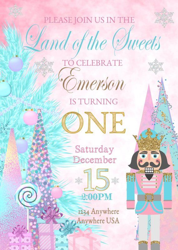 Nutcracker Birthday Invitation Girls Sugar Plum Fairy Princess Digital Download Land