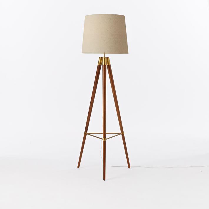 Mid Century Wood Tripod Floor Lamp Walnut Lamps Wooden