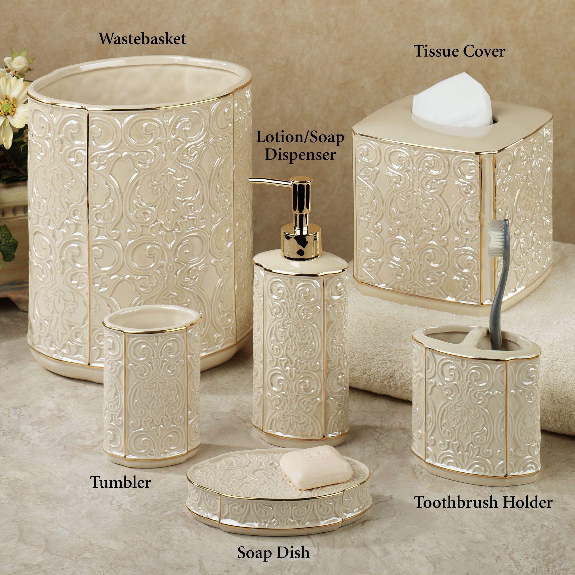 Furla Lotion Soap Dispenser Cream Gold Bathroom Accessories Bathroom Accessories Sets Bathroom Accessories