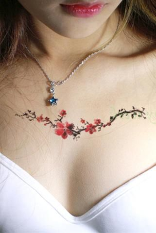 Leena Small Watercolor Floral Flower Vine Temporary Tattoo Delicate Flower Tattoo Small Chest Tattoos Watercolor Tattoo Flower