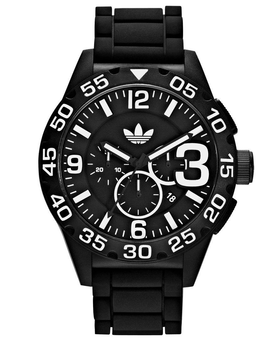 045457c930a adidas Watch, Unisex Chronograph Black Silicone Strap 48mm ADH2859 ...