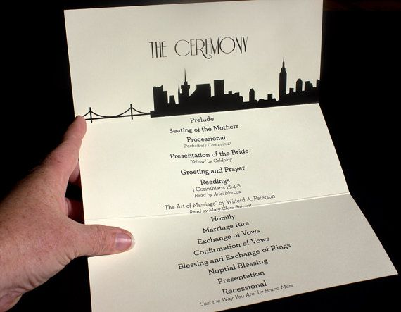 New York Trifold Ceremony Program Wedding by ShannaMicheleDesigns
