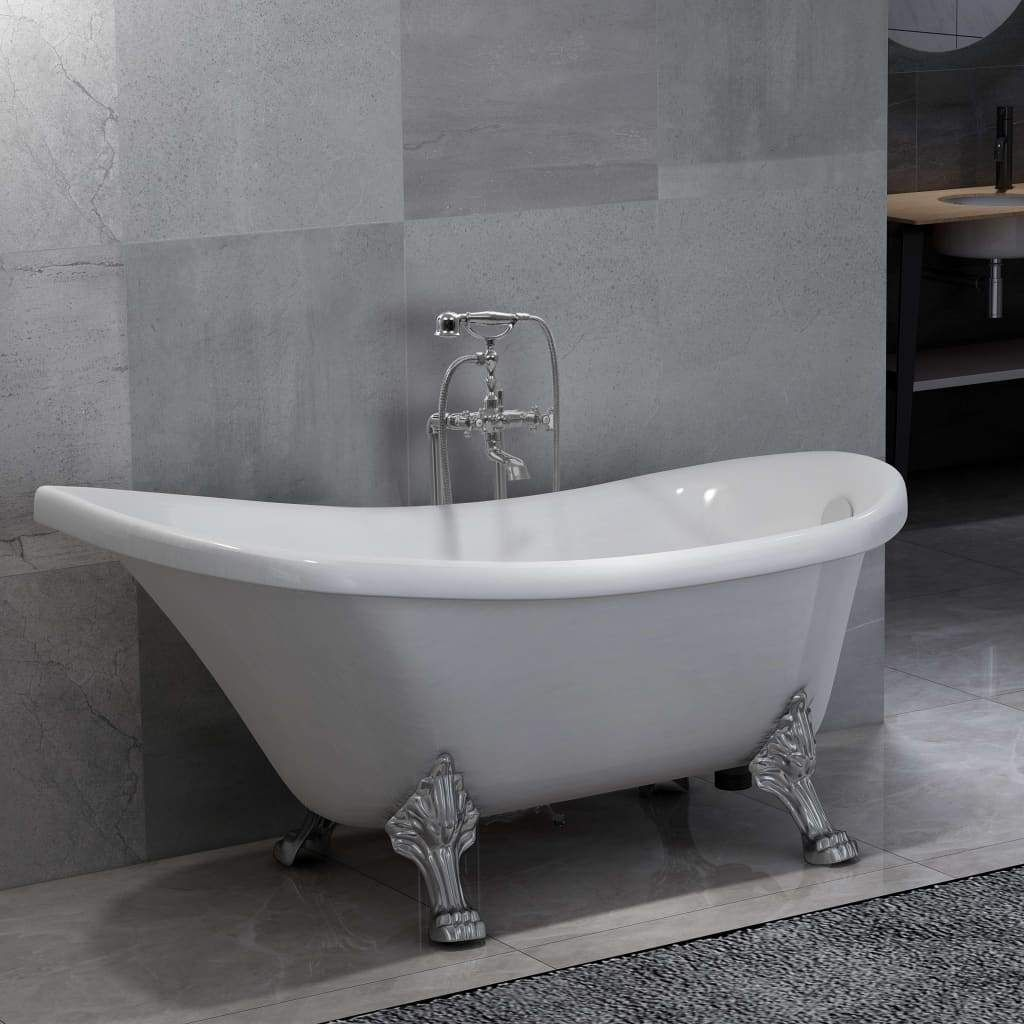 Photo of Freestanding Bathtub and Faucet 204 L 99,5 cm Silver