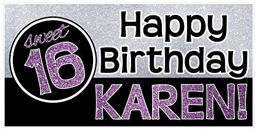 Sweet Sixteen 16 Birthday Banner Personalized Backdrop Party Decoration -- Check this awesome product by going to the link at the image.