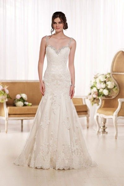 Style D1865-   Hollywood glam wedding dress idea - fit-and-flare wedding dress is with shoulder straps, a sexy low back, and an elegant chapel train. See more gowns by @essensedesigns on @weddingwire!