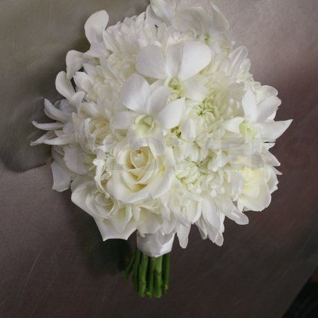 White Wedding Bouquet With Orchids W Flowers Ottawa White Wedding Flowers Bouquet Flower Bouquet Wedding White Wedding Bouquets