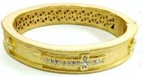 Jeweled, textured Satin hinged oval Alloy base wide Bold Cross bangle