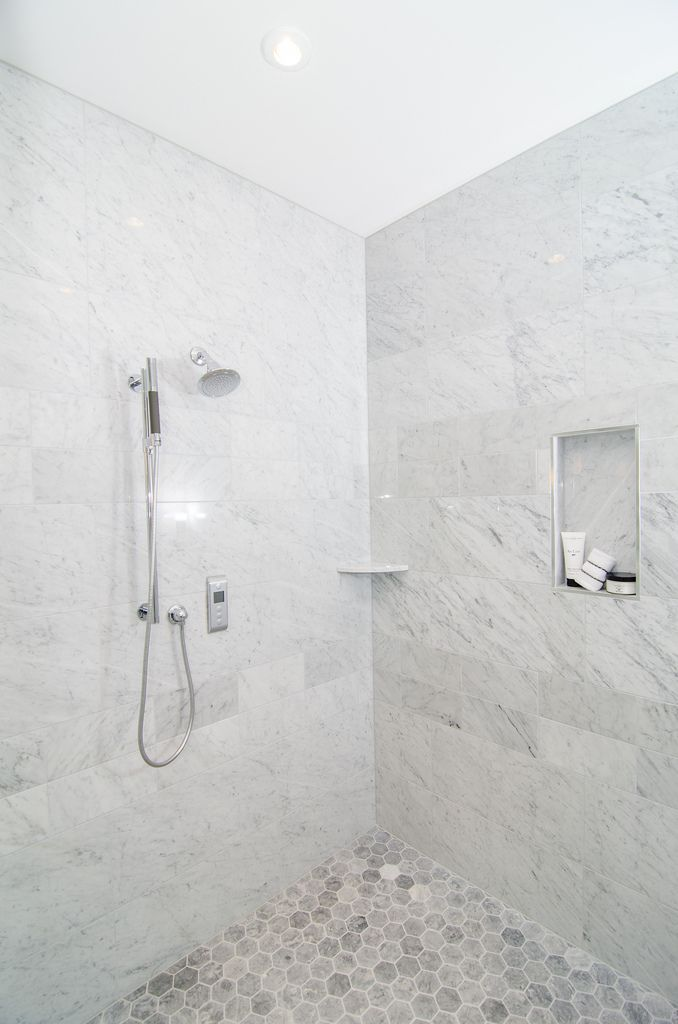 Gray Marble Hexagon Shower Floor Custom Homes Portfolio TriCrest - Bathroom remodeling mclean va