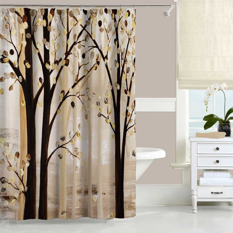 Beige Brown Shower Curtain Bath Mat Nature Forest Unique Etsy Brown Shower Curtain Neutral Bathroom Decor Tree Shower Curtains