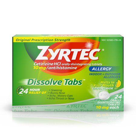 Zyrtec Allergy Dissolve Tablets In Citrus Flavor Cetirizine Hcl 24 Ct Walmart Com Zyrtec Allergy Relief Allergy Medication