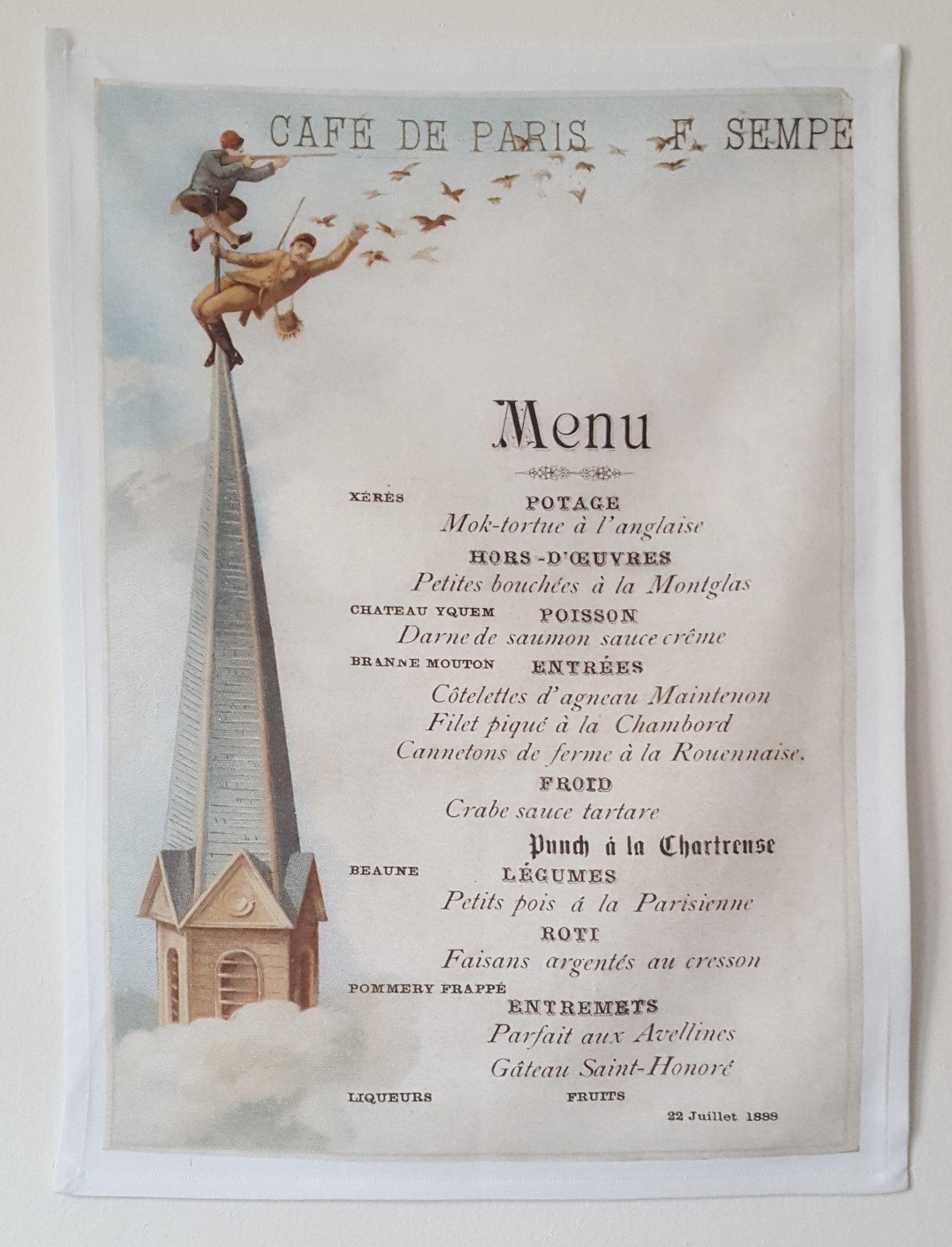 From an original 1888 Buenos Aires menu. 100 Cotton super