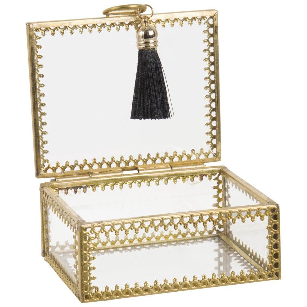 Boite A Bijoux Rectangulaire En Verre Et Metal Dore Maisons Du Monde Boite A Bijoux Rangement Maison Maison Du Monde