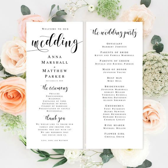 Template Wedding Program Elegant Wedding Program Editable