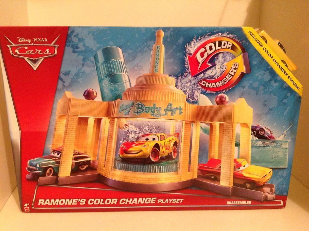 Disney Pixar Cars 2 Color Change Ramones House Of Body Art Auto Shop Playset Mattel Disney Pixar Cars Playset Auto Body Shop