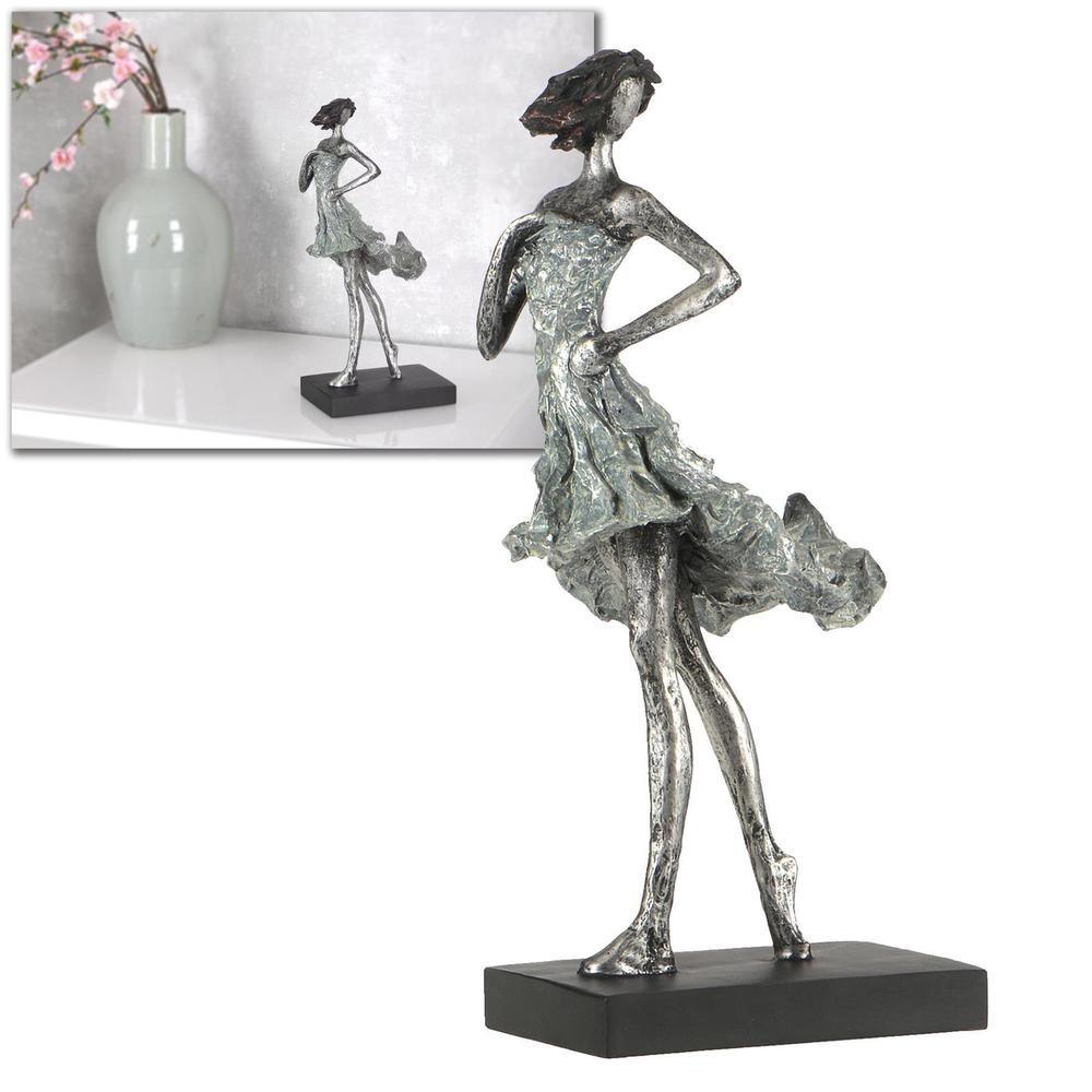 Skulptur modern frau sommerwind deko 35cm silber abstrakt for Dekofiguren modern