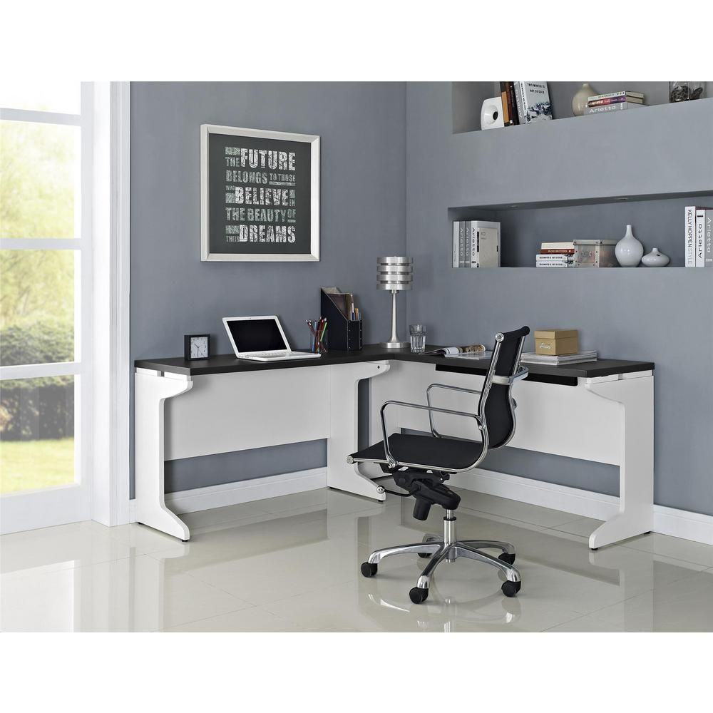 Altra furniture altra pursuit lshaped desk bundle in whitegray