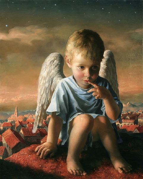 Thoughtful Angel by Arsen Kurbanov (1969, Russian)