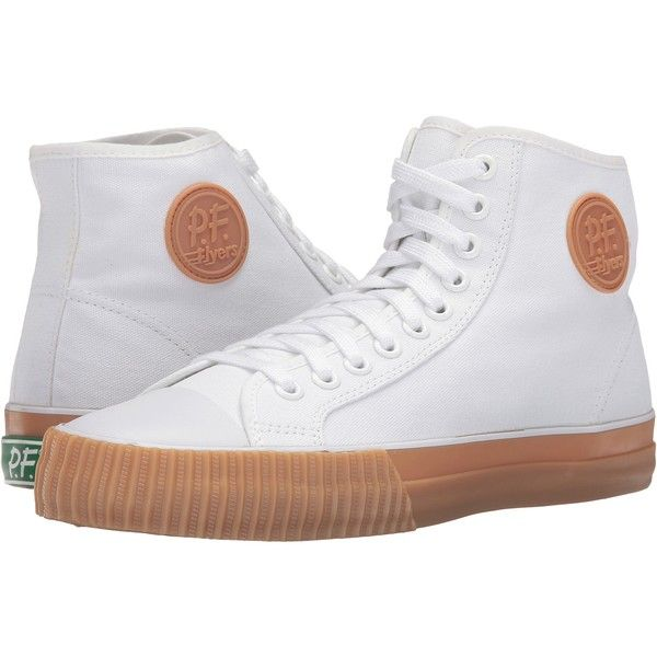 PF Flyers Center Hi Canvas (White/Gum Sole) Lace up casual Shoes ($40) ❤  liked on Polyvore featuring shoes, white, wedge sole shoes, white shoes,  canvas ...