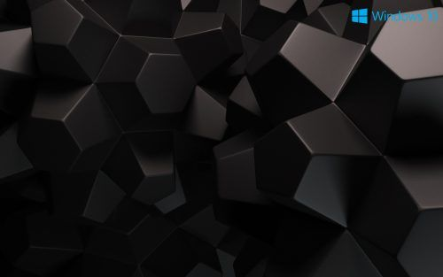 Windows 10 Wallpaper Black with 3D Object Geometric