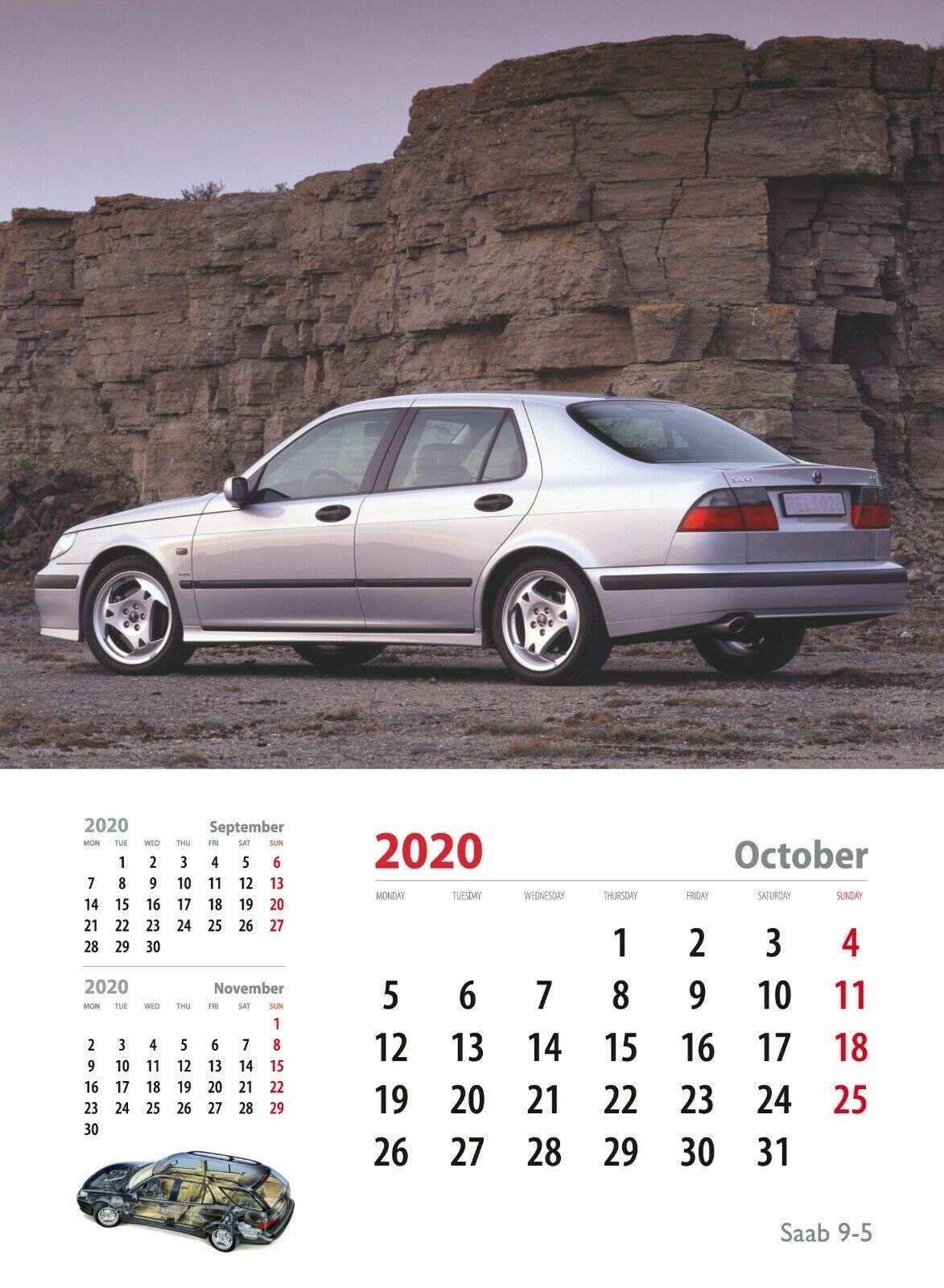 Saab 95 To 9 Wall Calendar 2021 Wall Calendar Calendar Saab