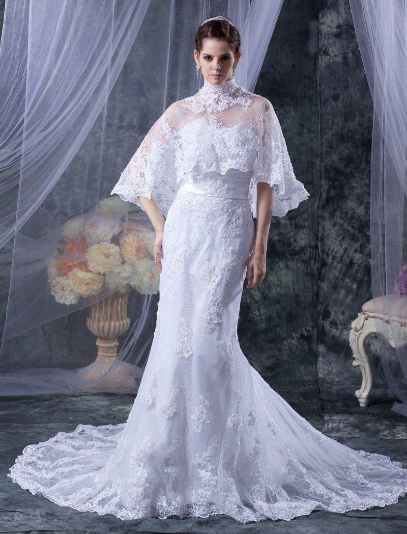 Click to buy ucuc romantic vintage mermaid wedding dresses shawl short