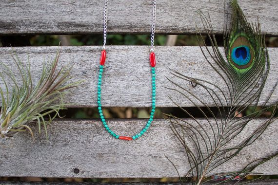 Turquoise Coral Boho Silver Chain Necklace Spirit Jewelry