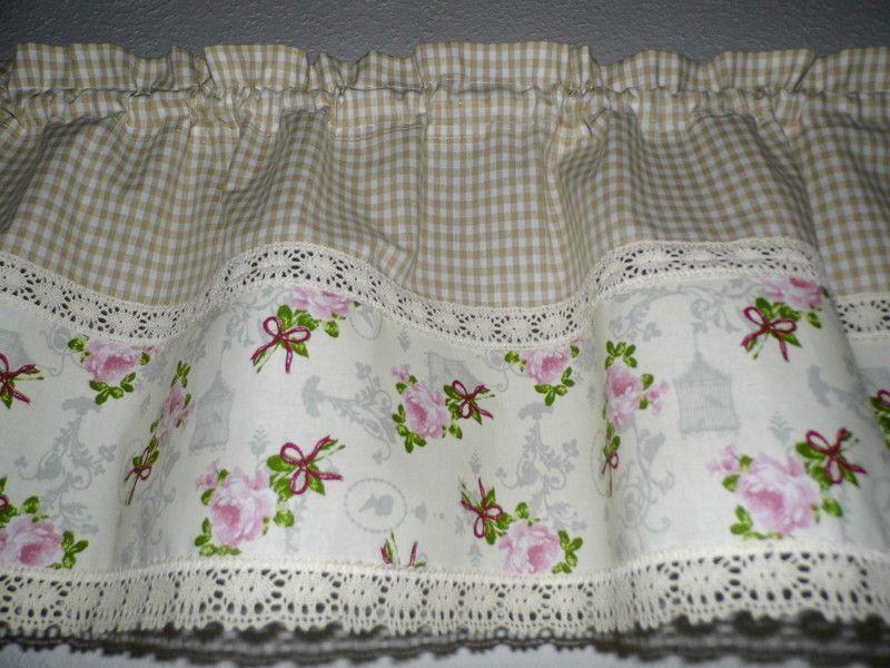 gardinen rosengardine karo beige shabby chic ein. Black Bedroom Furniture Sets. Home Design Ideas